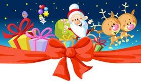 Дизайн рождества - Санта едет в санях Стоковые Изображения