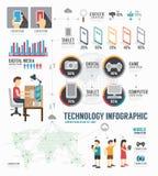 Дизайн шаблона технологии Infographic цифровой вектор концепции Стоковое Изображение