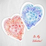 Дизайн шаблона для карточки влюбленности, сердец шнурка doodle Стоковое Фото