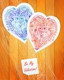 Дизайн шаблона для карточки влюбленности, сердца шнурка doodle Стоковые Изображения RF