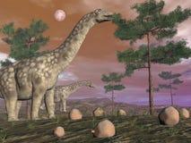 Динозавры Argentinosaurus - 3D представляют Стоковое Изображение