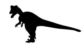 Динозавр силуэта. Черная иллюстрация вектора. Стоковые Фотографии RF