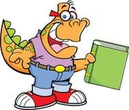 Динозавр шаржа держа книгу Стоковая Фотография