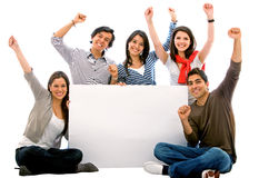 добавьте друзей знамени счастливых Стоковое фото RF