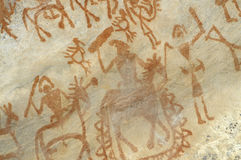 Доисторическая картина пещеры в Bhimbetka - Индии. Стоковое фото RF
