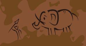 Доисторическое изображение с охотником Стоковое Изображение