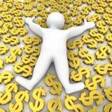 доллары кладя человека Стоковые Фотографии RF