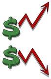 доллар вниз идет иллюстрация вверх по значению Стоковое Изображение RF