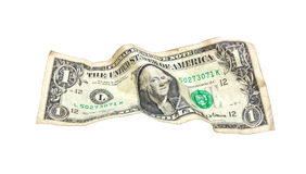 доллар изолировал одну сморщенную белизну Стоковое фото RF