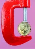 доллар струбцины вниз Стоковая Фотография