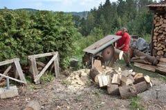 Домашнее хозяйство, человек режет древесину, подготовку на зима Стоковое Фото