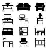 Домашние значки мебели Стоковое Изображение RF