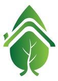 домашний логос листьев Стоковые Изображения