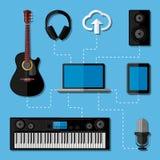 Домашняя концепция студии музыки. Плоский дизайн Стоковое фото RF