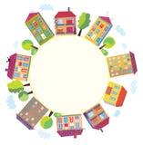 дома города круга Стоковые Изображения