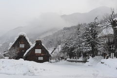 Дома соломенной крыши предусматриванные в снежке в зиме Стоковая Фотография