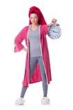 Домохозяйка с часами Стоковое Изображение