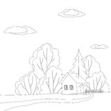 Дом в лесе, контурах Стоковая Фотография