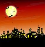 Дом и счастливая предпосылка дизайна сообщения хеллоуина Стоковое Изображение RF