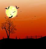 Дом и счастливая предпосылка дизайна сообщения хеллоуина Стоковые Фото