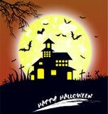 Дом и счастливая предпосылка дизайна сообщения хеллоуина Стоковые Фотографии RF