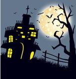 Дом и счастливая предпосылка дизайна сообщения хеллоуина Стоковая Фотография