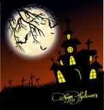 Дом и счастливая предпосылка дизайна сообщения хеллоуина Стоковое Изображение