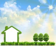 дом поля зеленая Стоковые Изображения RF