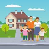 Дом семьи плоский Стоковые Фотографии RF