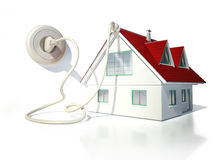 Дом с электрическим кабелем, штепсельной вилкой и гнездом Стоковое Изображение RF