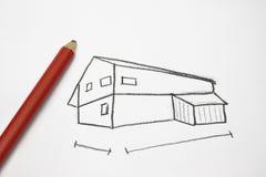 дом чертежа Стоковая Фотография RF