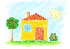дом чертежа Стоковая Фотография