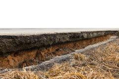 Дорога асфальта обрушилась Стоковое Фото