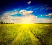 Дорога лета весны сельская в зеленом ландшафте поля Стоковое Фото