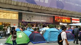 Дорога Натана занимает протесты 2014 Mong Kok Гонконга революция зонтика занимает централь Стоковое Изображение RF