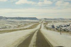 Дороги Snowy Вайоминга Стоковые Изображения RF