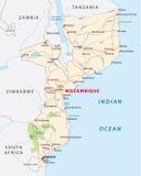 Дорожная карта Мозамбика Стоковые Фото