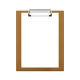 Доска сзажимом для бумаги Брайна деревянная изолированная для примечания в офисе бумажного illu Стоковые Изображения RF