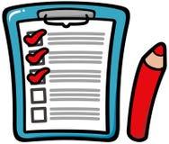 Доска сзажимом для бумаги с контрольным списоком Стоковые Изображения RF