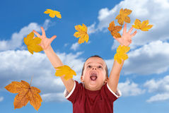 достижение листьев мальчика осени понижаясь счастливое Стоковые Изображения RF