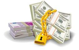 Доллар евро запертый Стоковая Фотография