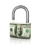 Доллар как замок на изолированной белой предпосылке Стоковые Фото