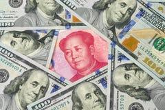 Доллар США против юаней Китая Стоковая Фотография RF
