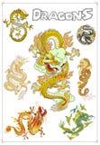 Драконы вектора традиционные азиатские Стоковое Фото