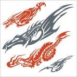 Драконы для татуировки вектор комплекта сердец шаржа приполюсный Стоковые Изображения