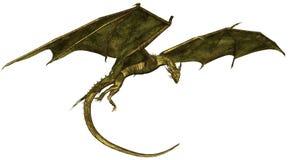 Дракон вычисленный по маcштабу зеленым цветом в полете Стоковое фото RF
