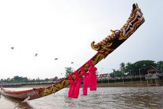 Дракон longboat Таиланда на голове Стоковое Изображение RF