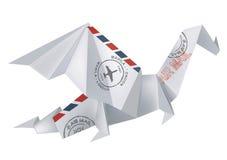 Дракон Origami ВОЗДУШНОЙ ПОЧТЫ Стоковая Фотография RF