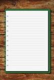 древесина таблицы тетради крышки зеленая Стоковые Фотографии RF