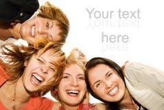 друзья собирают счастливое Стоковое Изображение RF